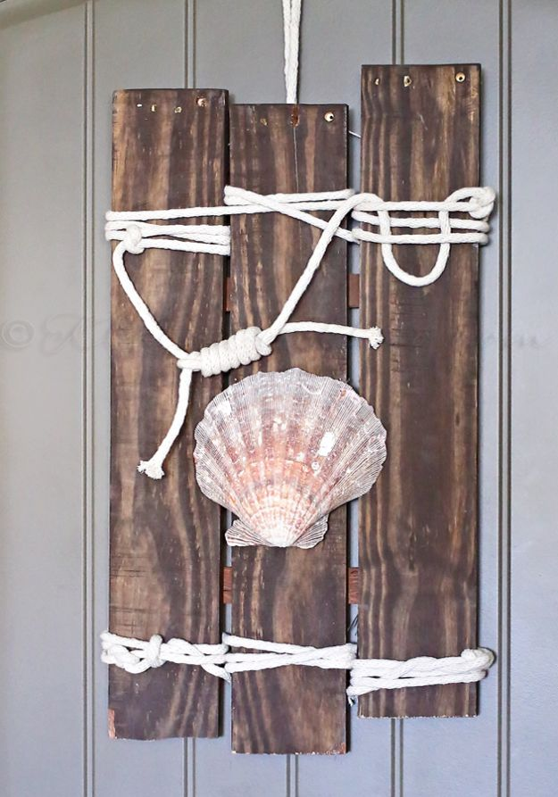DIY Beach House Decor - Coastal Pallet Art - Cool DIY Decor Ideas While On A Budget - Cool Ideas for Decorating Your Beach Home With Shells, Sand and Summer Wall Art - Crafts and Do It Yourself Projects With A Breezy, Blue, Summery Feel - White Decor and Shiplap, Birchwood Boats, Beachy Sea Glass Art Projects for Living Room, Bedroom and Kitchen