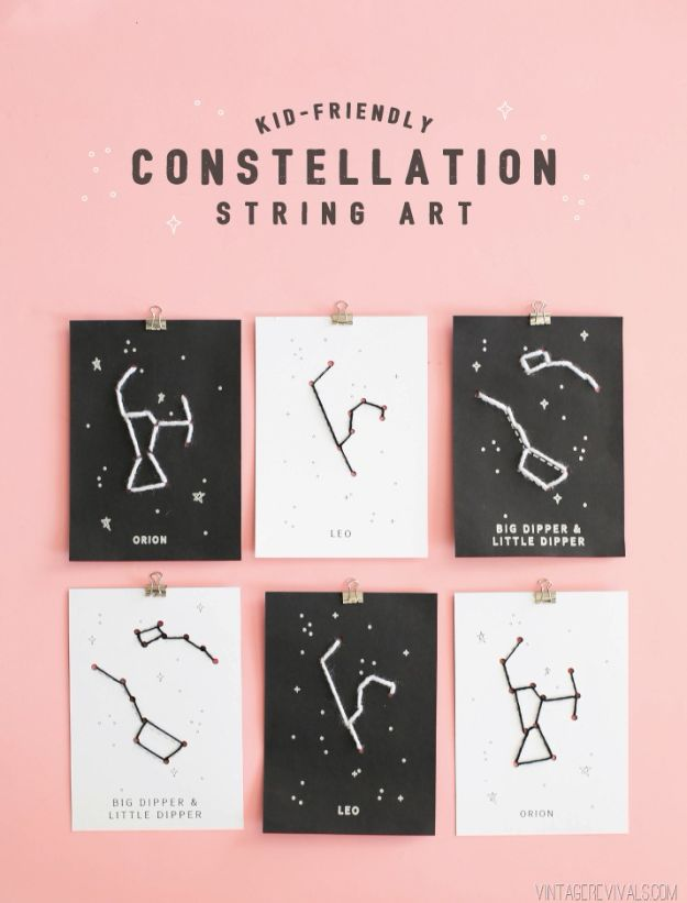 Crafts for Girls - Constellation String Art - Cute Crafts for Young Girls, Toddlers and School Children - Fun Paints to Make, Arts and Craft Ideas, Wall Art Projects, Colorful Alphabet and Glue Crafts, String Art, Painting Lessons, Cheap Project Tutorials and Inexpensive Things for Kids to Make at Home - Cute Room Decor and DIY Gifts #girlsgifts #girlscrafts #craftideas #girls