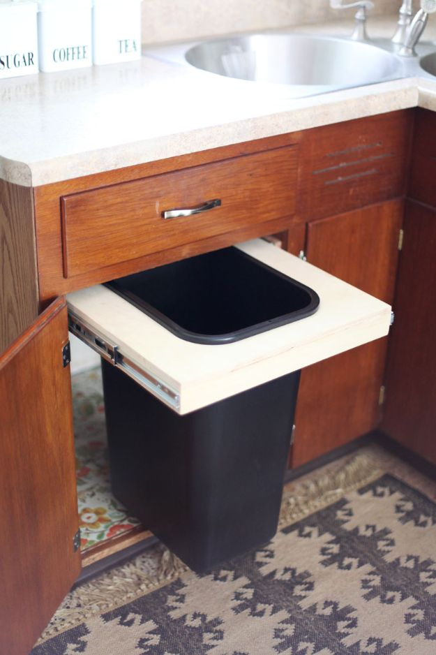 DIY Trash Cans - Convert A Cabinet Into A Pull Out Trash Bin - Easy Do It Yourself Projects to Make Cute, Decorative Trash Cans for Bathroom, Kitchen and Bedroom - Trash Can Makeover, Hidden Kitchen Storage With Pull Out Cabinet - Lids, Liners and Painted Decor Ideas for Updating the Bin #diykitchen #diybath #trashcans #diy #diyideas #diyjoy http://diyjoy.com/diy-trash-cans