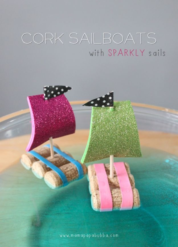 Crafts for Boys - Cork Sail Boats - Cute Crafts for Young Boys, Toddlers and School Children - Fun Paints to Make, Arts and Craft Ideas, Wall Art Projects, Colorful Alphabet and Glue Crafts, String Art, Painting Lessons, Cheap Project Tutorials and Inexpensive Things for Kids to Make at Home - Cute Room Decor and DIY Gifts to Make for Mom and Dad #diyideas #kidscrafts #craftsforboys