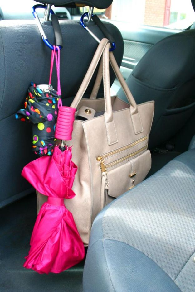 Car Organization Ideas - Corral With Carabiners - DIY Tips and Tricks for Organizing Cars - Dollar Store Storage Projects for Mom, Kids and Teens - Keep Your Car, Truck or SUV Clean On A Road Trip With These solutions for interiors and Trunk, Front Seat - Do It Yourself Caddy and Easy, Cool Lifehacks http://diyjoy.com/car-organizing-ideas