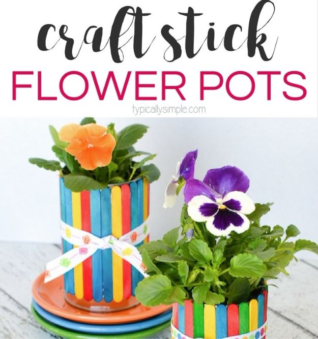 Crafts for Girls - Craft Stick Flower Pots - Cute Crafts for Young Girls, Toddlers and School Children - Fun Paints to Make, Arts and Craft Ideas, Wall Art Projects, Colorful Alphabet and Glue Crafts, String Art, Painting Lessons, Cheap Project Tutorials and Inexpensive Things for Kids to Make at Home - Cute Room Decor and DIY Gifts to Make for Mom and Dad http://diyjoy.com/crafts-for-girls