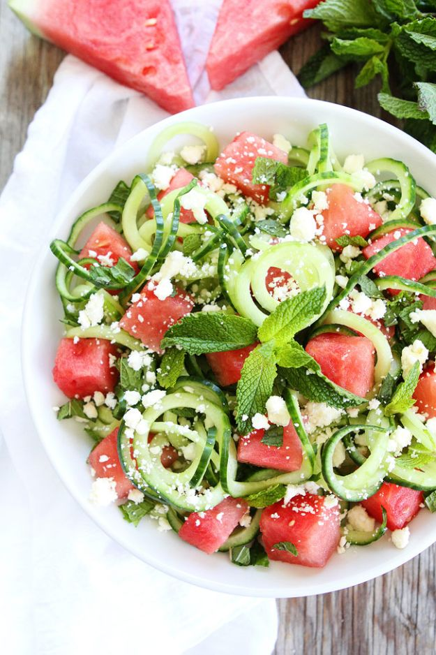 Best Summer Snacks and Snack Recipes - Cucumber Noodle, Watermelon, and Feta Salad - Quick And Easy Snack Ideas for After Workout, School, Work - Mid Day Treats, Best Small Desserts, Simple and Fast Things To Make In Minutes - Healthy Snacking Foods Made With Vegetables, Cheese, Yogurt, Fruit and Gluten Free Options - Kids Love Making These Sweets, Popsicles, Drinks, Smoothies and Fun Foods - Refreshing and Cool Options for Eating Otuside on a Hot Day   #summer #snacks #snackrecipes #appetizers