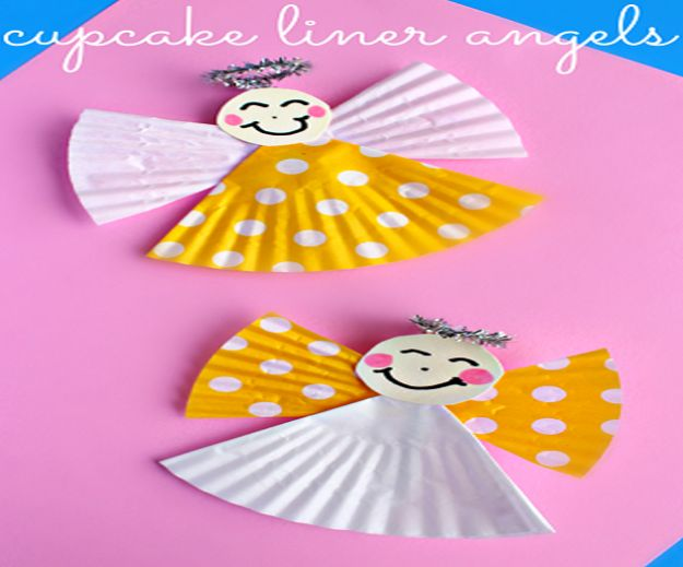 Crafts for Girls - Cupcake Liner Angel Craft - Cute Crafts for Young Girls, Toddlers and School Children - Fun Paints to Make, Arts and Craft Ideas, Wall Art Projects, Colorful Alphabet and Glue Crafts, String Art, Painting Lessons, Cheap Project Tutorials and Inexpensive Things for Kids to Make at Home - Cute Room Decor and DIY Gifts #girlsgifts #girlscrafts #craftideas #girls