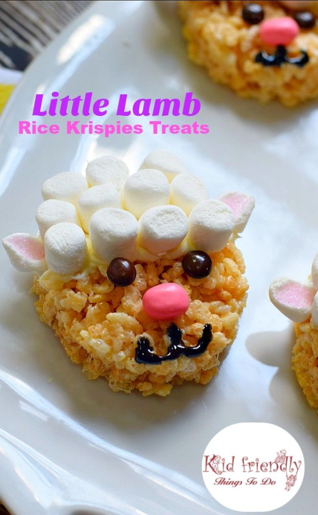 Best Recipes To Teach Your Kids To Cook - Cute and Easy to Make Little Lamb Rice Krispies Treat - Easy Ideas To Show Children How to Prepare Food - Kid Friendly Recipes That Boys and Girls Can Make Themselves - No Bake, 5 Minute Foods, Healthy Snacks, Salads, Dips, Roll Ups, Vegetables and Simple Desserts - Recipes To Learn How To Make Fun Food http://diyjoy.com/best-recipes-teach-kids-to-cook