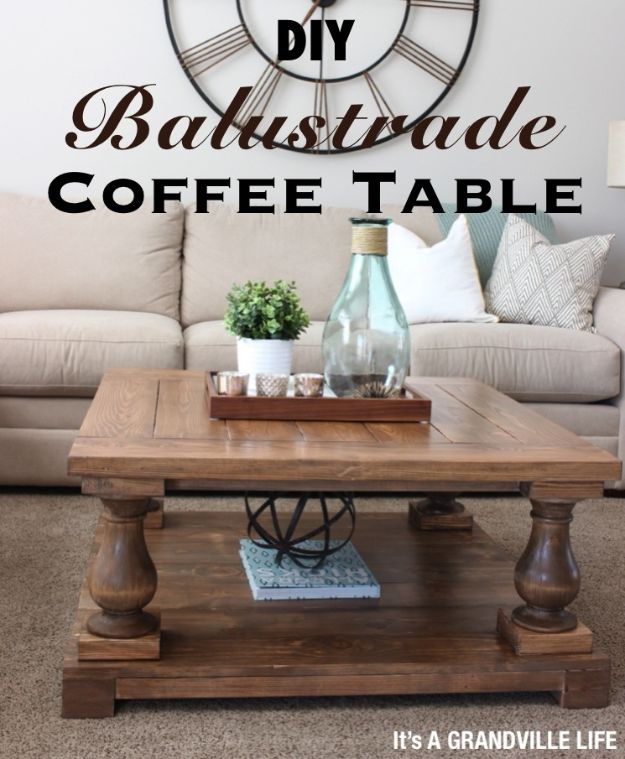 DIY Coffee Tables - DIY Balustrade Coffee Table - Easy Do It Yourself Furniture Ideas for The Living Room Table - Cool Projects for Making a Coffee Table With Crates, Boxes, Stone, Industrial Pipe, Tile, Pallets, Old Doors, Windows and Repurposed Wood Planks - Rustic Farmhouse Home Decor, Modern Decorating Ideas, Simply Shabby Chic and All White Looks for Minimalist Interiors http://diyjoy.com/diy-coffee-table-ideas