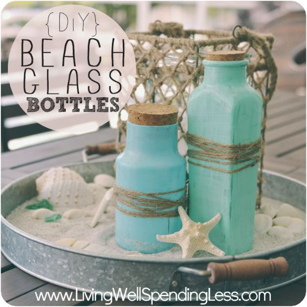 DIY Beach House Decor - DIY Beach Glass Bottles- Cool DIY Decor Ideas While On A Budget - Cool Ideas for Decorating Your Beach Home With Shells, Sand and Summer Wall Art - Crafts and Do It Yourself Projects With A Breezy, Blue, Summery Feel - White Decor and Shiplap, Birchwood Boats, Beachy Sea Glass Art Projects for Living Room, Bedroom and Kitchen http://diyjoy.com/diy-beach-house-decor