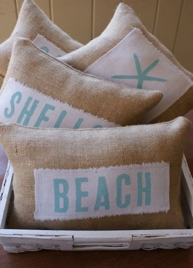 DIY Beach House Decor - DIY Beachy Themed Pillows - Cool DIY Decor Ideas While On A Budget - Cool Ideas for Decorating Your Beach Home With Shells, Sand and Summer Wall Art - Crafts and Do It Yourself Projects With A Breezy, Blue, Summery Feel - White Decor and Shiplap, Birchwood Boats, Beachy Sea Glass Art Projects for Living Room, Bedroom and Kitchen
