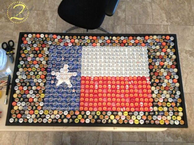 DIY Ideas For Everyone Who Loves Texas - DIY Bottle Cap Table - Cute Lone Star State Crafts In The Shape of Texas - Best Texan Quotes, Sayings and Signs for Your Porch and Home - Easy Texas Themed Decorating Ideas - Country Crafts, Rustic Home Decor, String Art and Map Projects Shaped Like Texas - Decor for Living Room, Bedroom, Bathroom, Kitchen and Yard http://diyjoy.com/diy-ideas-Texas
