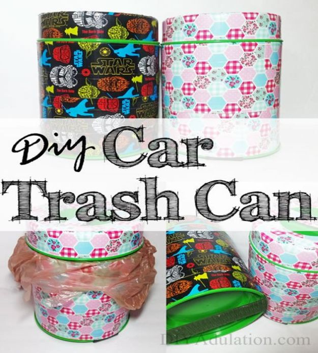 DIY Trash Cans - DIY Car Trash Can - Easy Do It Yourself Projects to Make Cute, Decorative Trash Cans for Bathroom, Kitchen and Bedroom - Trash Can Makeover, Hidden Kitchen Storage With Pull Out Cabinet - Lids, Liners and Painted Decor Ideas for Updating the Bin #diykitchen #diybath #trashcans #diy #diyideas #diyjoy http://diyjoy.com/diy-trash-cans