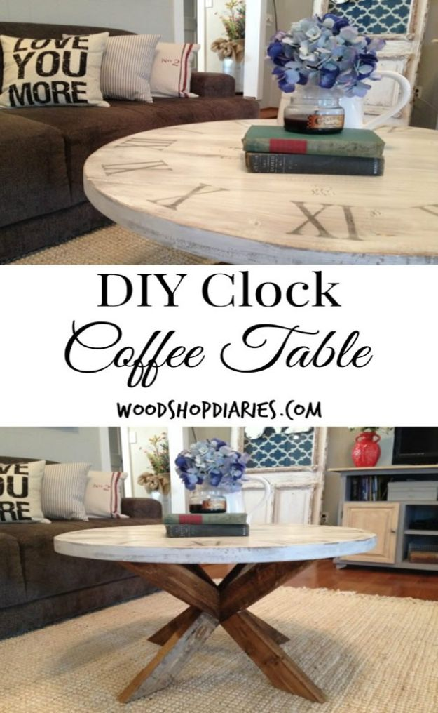 DIY Coffee Tables - DIY Clock Coffee Table - Easy Do It Yourself Furniture Ideas for The Living Room Table - Cool Projects for Making a Coffee Table With Crates, Boxes, Stone, Industrial Pipe, Tile, Pallets, Old Doors, Windows and Repurposed Wood Planks - Rustic Farmhouse Home Decor, Modern Decorating Ideas, Simply Shabby Chic and All White Looks for Minimalist Interiors http://diyjoy.com/diy-coffee-table-ideas