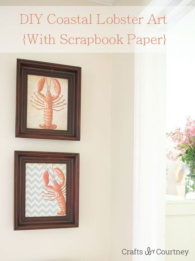 DIY Beach House Decor - DIY Coastal Lobster Art - Cool DIY Decor Ideas While On A Budget - Cool Ideas for Decorating Your Beach Home With Shells, Sand and Summer Wall Art - Crafts and Do It Yourself Projects With A Breezy, Blue, Summery Feel - White Decor and Shiplap, Birchwood Boats, Beachy Sea Glass Art Projects for Living Room, Bedroom and Kitchen