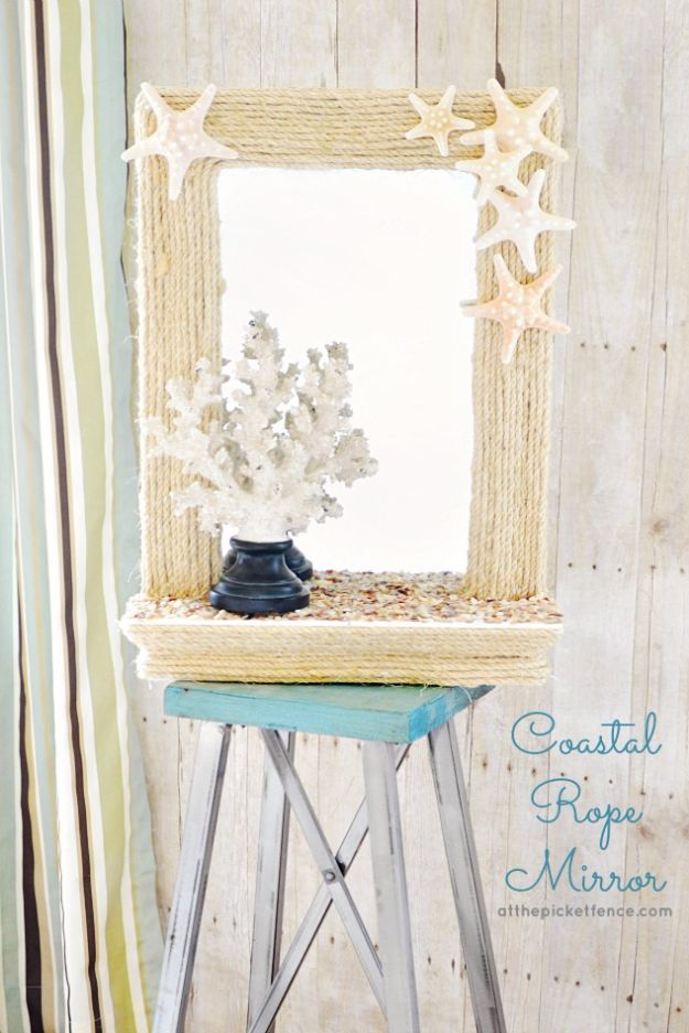DIY Beach House Decor - DIY Coastal Rope Mirror - Cool DIY Decor Ideas While On A Budget - Cool Ideas for Decorating Your Beach Home With Shells, Sand and Summer Wall Art - Crafts and Do It Yourself Projects With A Breezy, Blue, Summery Feel - White Decor and Shiplap, Birchwood Boats, Beachy Sea Glass Art Projects for Living Room, Bedroom and Kitchen