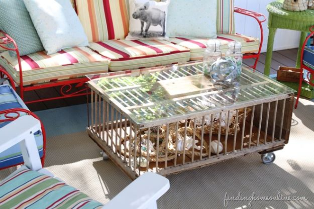 DIY Coffee Tables - DIY Coffee Table Out Of A Chicken Crate - Easy Do It Yourself Furniture Ideas for The Living Room Table - Cool Projects for Making a Coffee Table With Crates, Boxes, Stone, Industrial Pipe, Tile, Pallets, Old Doors, Windows and Repurposed Wood Planks - Rustic Farmhouse Home Decor, Modern Decorating Ideas, Simply Shabby Chic and All White Looks for Minimalist Interiors http://diyjoy.com/diy-coffee-table-ideas