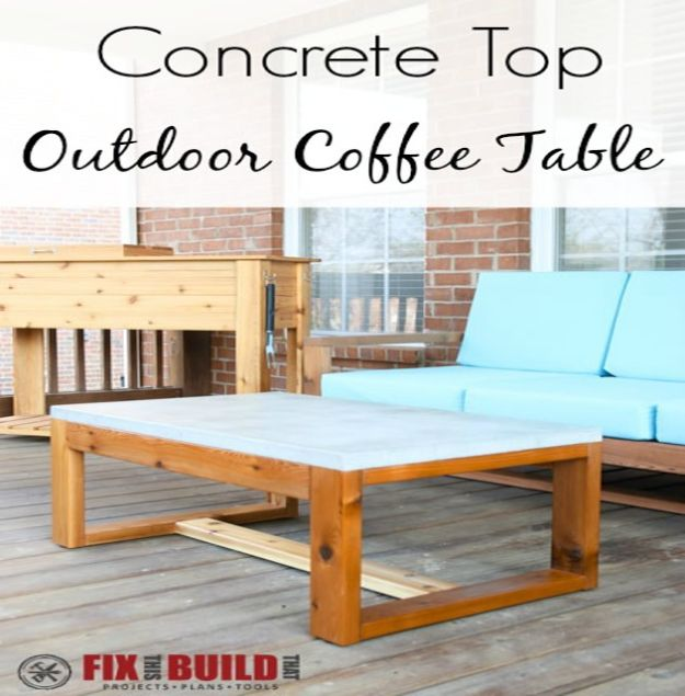 DIY Coffee Tables - DIY Concrete Top Outdoor Coffee Table - Easy Do It Yourself Furniture Ideas for The Living Room Table - Cool Projects for Making a Coffee Table With Crates, Boxes, Stone, Industrial Pipe, Tile, Pallets, Old Doors, Windows and Repurposed Wood Planks - Rustic Farmhouse Home Decor, Modern Decorating Ideas, Simply Shabby Chic and All White Looks for Minimalist Interiors http://diyjoy.com/diy-coffee-table-ideas