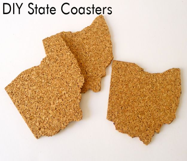 Cool State Crafts - DIY Cork State Coasters - Easy Craft Projects To Show Your Love For Your Home State - Best DIY Ideas Using Maps, String Art Shaped Like States, Quotes, Sayings and Wall Art Ideas, Painted Canvases, Cute Pillows, Fun Gifts and DIY Decor Made Simple - Creative Decorating Ideas for Living Room, Kitchen, Bedroom, Bath and Porch http://diyjoy.com/cool-state-crafts
