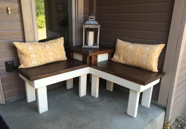 DIY Patio Furniture Ideas - DIY Corner Bench And Table - Cheap Do It Yourself Porch and Easy Backyard Furniture, Rocking Chairs, Swings, Benches, Stools and Seating Tutorials - Dining Tables from Pallets, Cinder Blocks and Upcyle Ideas - Sectional Couch Plans With Cushions - Makeover Tips for Existing Furniture #diyideas #outdoors #diy #backyardideas #diyfurniture #patio #diyjoy http://diyjoy.com/diy-patio-furniture-ideas