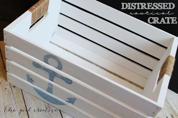 DIY Beach House Decor - DIY Distressed Nautical Crate - Cool DIY Decor Ideas While On A Budget - Cool Ideas for Decorating Your Beach Home With Shells, Sand and Summer Wall Art - Crafts and Do It Yourself Projects With A Breezy, Blue, Summery Feel - White Decor and Shiplap, Birchwood Boats, Beachy Sea Glass Art Projects for Living Room, Bedroom and Kitchen