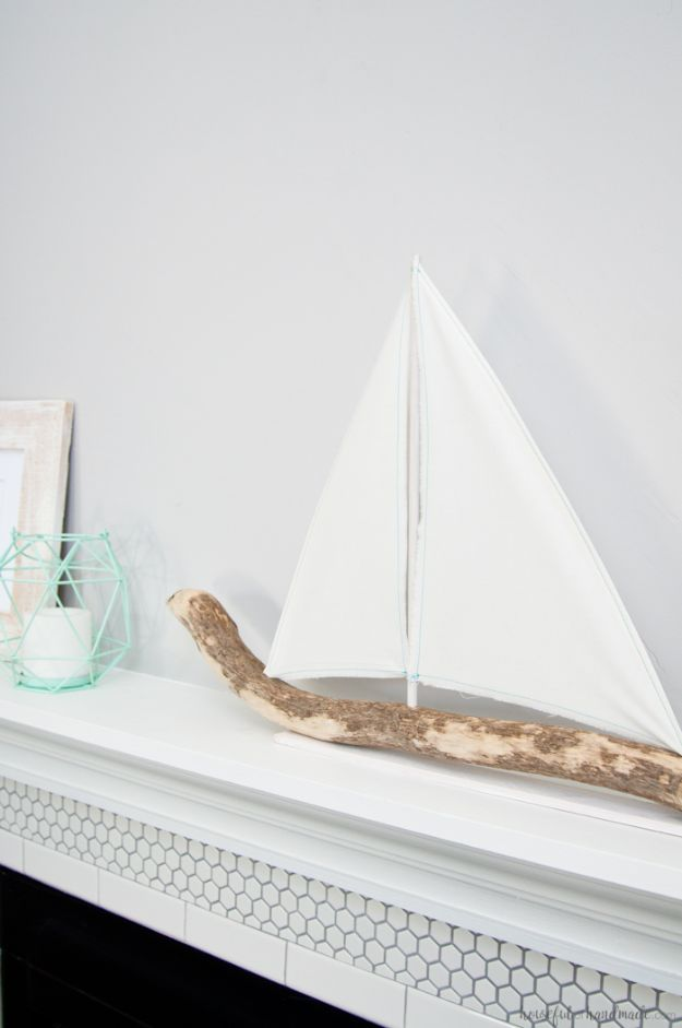 DIY Beach House Decor - DIY Driftwood Sailboat Decor - Cool DIY Decor Ideas While On A Budget - Cool Ideas for Decorating Your Beach Home With Shells, Sand and Summer Wall Art - Crafts and Do It Yourself Projects With A Breezy, Blue, Summery Feel - White Decor and Shiplap, Birchwood Boats, Beachy Sea Glass Art Projects for Living Room, Bedroom and Kitchen