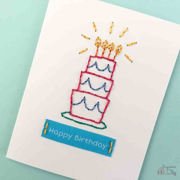 DIY Birthday Cards - DIY Embroidered Card - Easy and Cheap Handmade Birthday Cards To Make At Home - Cute Card Projects With Step by Step Tutorials are Perfect for Birthdays for Mom, Dad, Kids and Adults - Pop Up and Folded Cards, Creative Gift Card Holders and Fun Ideas With Cake #birthdayideas #birthdaycards