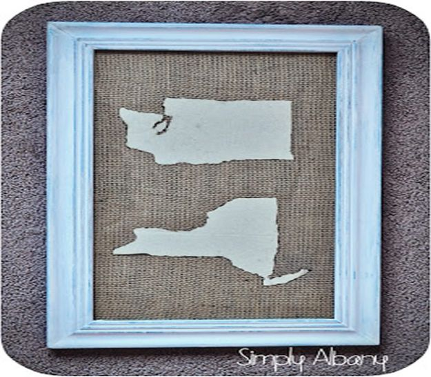 Cool State Crafts - DIY Fabric Map Art - Easy Craft Projects To Show Your Love For Your Home State - Best DIY Ideas Using Maps, String Art Shaped Like States, Quotes, Sayings and Wall Art Ideas, Painted Canvases, Cute Pillows, Fun Gifts and DIY Decor Made Simple - Creative Decorating Ideas for Living Room, Kitchen, Bedroom, Bath and Porch http://diyjoy.com/cool-state-crafts