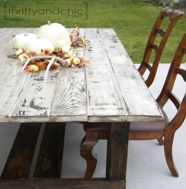 DIY Patio Furniture Ideas - DIY Farmhouse Table - Cheap Do It Yourself Porch and Easy Backyard Furniture, Rocking Chairs, Swings, Benches, Stools and Seating Tutorials - Dining Tables from Pallets, Cinder Blocks and Upcyle Ideas - Sectional Couch Plans With Cushions - Makeover Tips for Existing Furniture #diyideas #outdoors #diy #backyardideas #diyfurniture #patio #diyjoy http://diyjoy.com/diy-patio-furniture-ideas