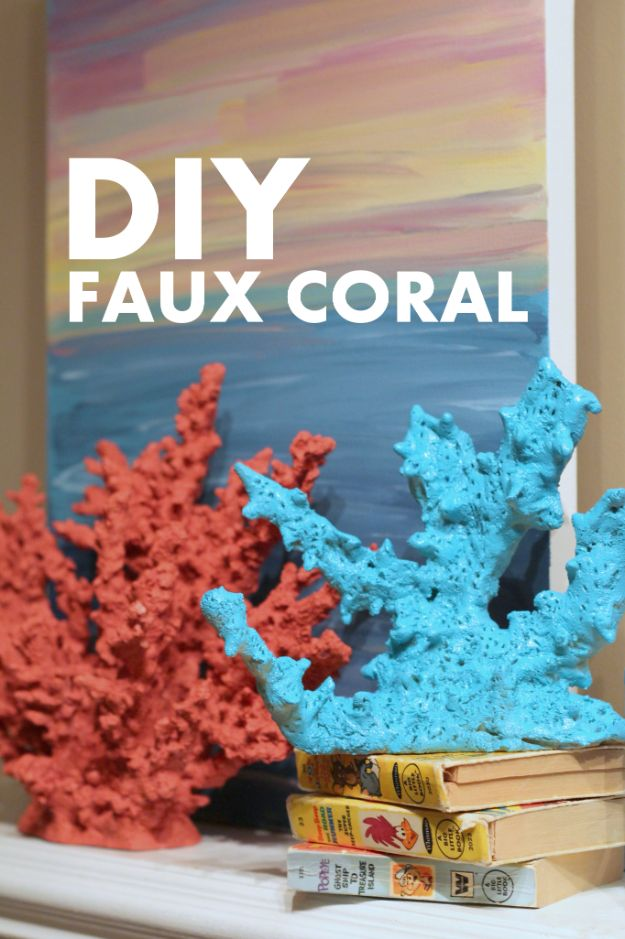 DIY Beach House Decor - DIY Faux Coral Tutorial - Cool DIY Decor Ideas While On A Budget - Cool Ideas for Decorating Your Beach Home With Shells, Sand and Summer Wall Art - Crafts and Do It Yourself Projects With A Breezy, Blue, Summery Feel - White Decor and Shiplap, Birchwood Boats, Beachy Sea Glass Art Projects for Living Room, Bedroom and Kitchen http://diyjoy.com/diy-beach-house-decor