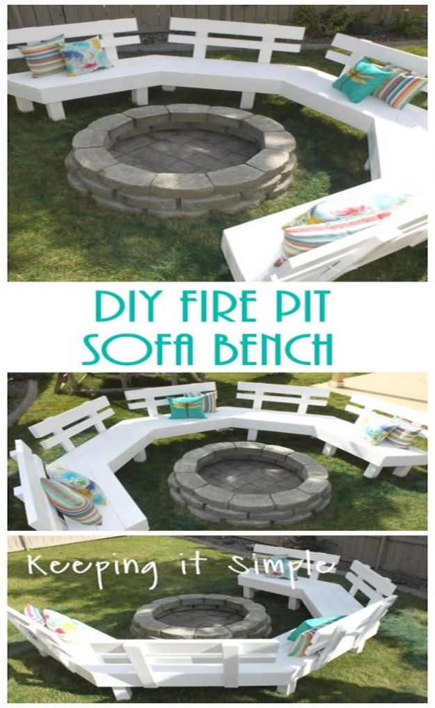 DIY Patio Furniture Ideas - DIY Fire Pit Sofa Bench - Cheap Do It Yourself Porch and Easy Backyard Furniture, Rocking Chairs, Swings, Benches, Stools and Seating Tutorials - Dining Tables from Pallets, Cinder Blocks and Upcyle Ideas - Sectional Couch Plans With Cushions - Makeover Tips for Existing Furniture #diyideas #outdoors #diy #backyardideas #diyfurniture #patio #diyjoy http://diyjoy.com/diy-patio-furniture-ideas