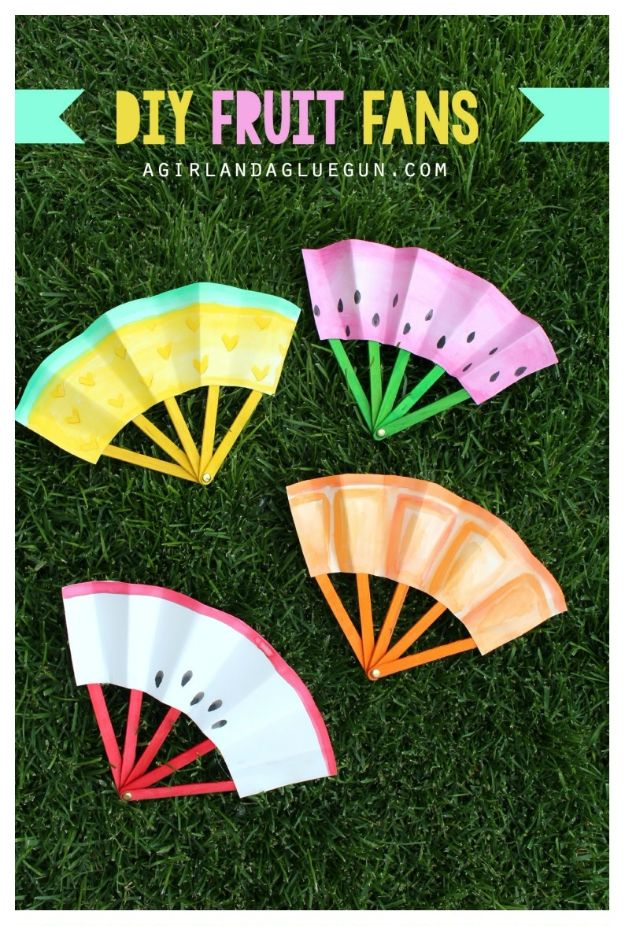 Crafts for Girls - DIY Fruit Fans - Cute Crafts for Young Girls, Toddlers and School Children - Fun Paints to Make, Arts and Craft Ideas, Wall Art Projects, Colorful Alphabet and Glue Crafts, String Art, Painting Lessons, Cheap Project Tutorials and Inexpensive Things for Kids to Make at Home - Cute Room Decor and DIY Gifts to Make for Mom and Dad http://diyjoy.com/crafts-for-girls