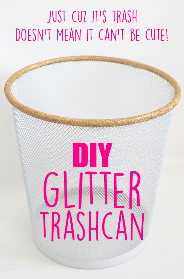 DIY Trash Cans - DIY Glitter Trashcan - Easy Do It Yourself Projects to Make Cute, Decorative Trash Cans for Bathroom, Kitchen and Bedroom - Trash Can Makeover, Hidden Kitchen Storage With Pull Out Cabinet - Lids, Liners and Painted Decor Ideas for Updating the Bin #diykitchen #diybath #trashcans #diy #diyideas #diyjoy http://diyjoy.com/diy-trash-cans