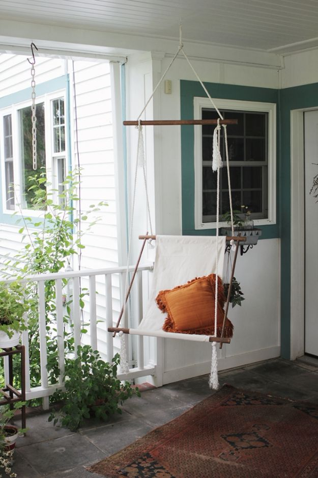 DIY Patio Furniture Ideas - DIY Hanging Lounge Chair - Cheap Do It Yourself Porch and Easy Backyard Furniture, Rocking Chairs, Swings, Benches, Stools and Seating Tutorials - Dining Tables from Pallets, Cinder Blocks and Upcyle Ideas - Sectional Couch Plans With Cushions - Makeover Tips for Existing Furniture #diyideas #outdoors #diy #backyardideas #diyfurniture #patio #diyjoy http://diyjoy.com/diy-patio-furniture-ideas