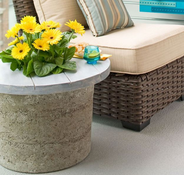 DIY Patio Furniture Ideas - DIY Hypertufa Outdoor Stone Table - Cheap Do It Yourself Porch and Easy Backyard Furniture, Rocking Chairs, Swings, Benches, Stools and Seating Tutorials - Dining Tables from Pallets, Cinder Blocks and Upcyle Ideas - Sectional Couch Plans With Cushions - Makeover Tips for Existing Furniture #diyideas #outdoors #diy #backyardideas #diyfurniture #patio #diyjoy http://diyjoy.com/diy-patio-furniture-ideas