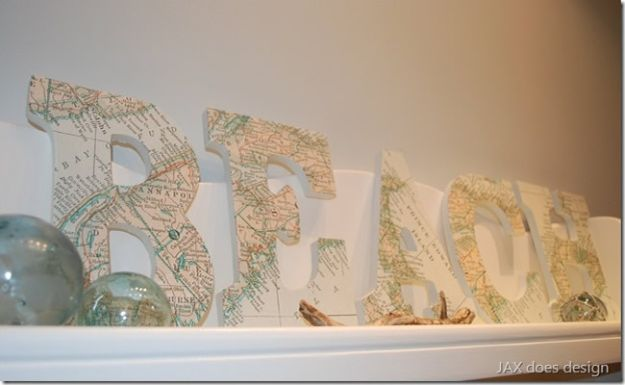 DIY Beach House Decor - DIY Maritime Map Letters - Cool DIY Decor Ideas While On A Budget - Cool Ideas for Decorating Your Beach Home With Shells, Sand and Summer Wall Art - Crafts and Do It Yourself Projects With A Breezy, Blue, Summery Feel - White Decor and Shiplap, Birchwood Boats, Beachy Sea Glass Art Projects for Living Room, Bedroom and Kitchen http://diyjoy.com/diy-beach-house-decor