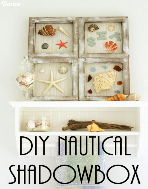 DIY Beach House Decor - DIY Nautical Shadowbox - Cool DIY Decor Ideas While On A Budget - Cool Ideas for Decorating Your Beach Home With Shells, Sand and Summer Wall Art - Crafts and Do It Yourself Projects With A Breezy, Blue, Summery Feel - White Decor and Shiplap, Birchwood Boats, Beachy Sea Glass Art Projects for Living Room, Bedroom and Kitchen