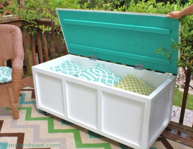 DIY Patio Furniture Ideas - DIY Outdoor Storage Box Bench - Cheap Do It Yourself Porch and Easy Backyard Furniture, Rocking Chairs, Swings, Benches, Stools and Seating Tutorials - Dining Tables from Pallets, Cinder Blocks and Upcyle Ideas - Sectional Couch Plans With Cushions - Makeover Tips for Existing Furniture #diyideas #outdoors #diy #backyardideas #diyfurniture #patio #diyjoy http://diyjoy.com/diy-patio-furniture-ideas