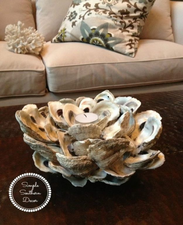 DIY Beach House Decor - DIY Oyster Shell Candle Holder - Cool DIY Decor Ideas While On A Budget - Cool Ideas for Decorating Your Beach Home With Shells, Sand and Summer Wall Art - Crafts and Do It Yourself Projects With A Breezy, Blue, Summery Feel - White Decor and Shiplap, Birchwood Boats, Beachy Sea Glass Art Projects for Living Room, Bedroom and Kitchen