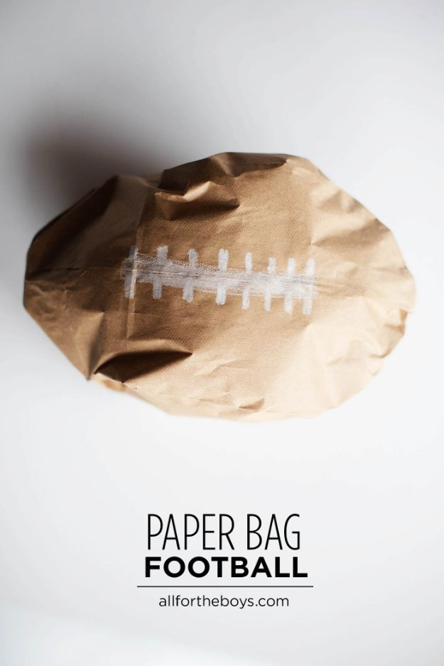 Crafts for Boys - DIY Paper Bag Football Craft - Cute Crafts for Young Boys, Toddlers and School Children - Fun Paints to Make, Arts and Craft Ideas, Wall Art Projects, Colorful Alphabet and Glue Crafts, String Art, Painting Lessons, Cheap Project Tutorials and Inexpensive Things for Kids to Make at Home - Cute Room Decor and DIY Gifts to Make for Mom and Dad #diyideas #kidscrafts #craftsforboys