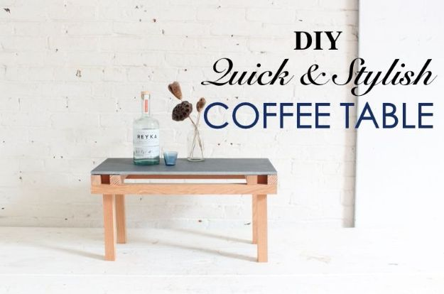 DIY Coffee Tables - DIY Quick And Stylish Tile Coffee Table - Easy Do It Yourself Furniture Ideas for The Living Room Table - Cool Projects for Making a Coffee Table With Crates, Boxes, Stone, Industrial Pipe, Tile, Pallets, Old Doors, Windows and Repurposed Wood Planks - Rustic Farmhouse Home Decor, Modern Decorating Ideas, Simply Shabby Chic and All White Looks for Minimalist Interiors http://diyjoy.com/diy-coffee-table-ideas