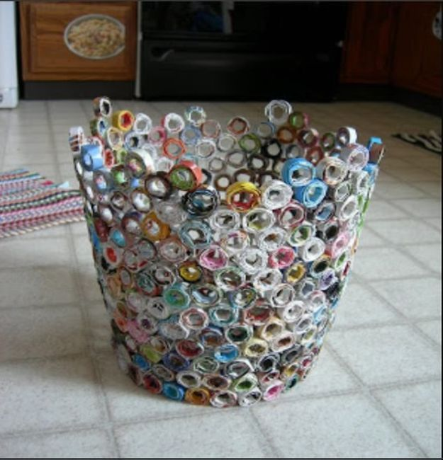 DIY Trash Cans - DIY Recycled Magazine Trash Can - Easy Do It Yourself Projects to Make Cute, Decorative Trash Cans for Bathroom, Kitchen and Bedroom - Trash Can Makeover, Hidden Kitchen Storage With Pull Out Cabinet - Lids, Liners and Painted Decor Ideas for Updating the Bin #diykitchen #diybath #trashcans #diy #diyideas #diyjoy http://diyjoy.com/diy-trash-cans