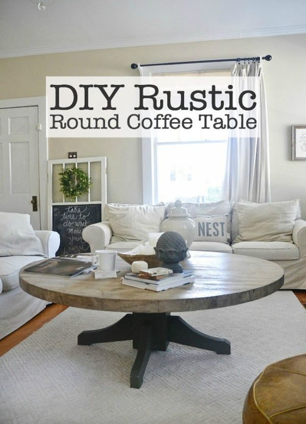 DIY Coffee Tables - DIY Round Coffee Table - Easy Do It Yourself Furniture Ideas for The Living Room Table - Cool Projects for Making a Coffee Table With Crates, Boxes, Stone, Industrial Pipe, Tile, Pallets, Old Doors, Windows and Repurposed Wood Planks - Rustic Farmhouse Home Decor, Modern Decorating Ideas, Simply Shabby Chic and All White Looks for Minimalist Interiors http://diyjoy.com/diy-coffee-table-ideas