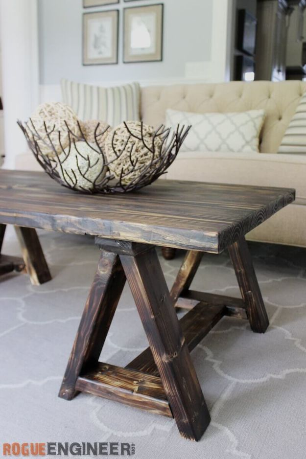 DIY Coffee Tables - DIY Sawhorse Coffee Table - Easy Do It Yourself Furniture Ideas for The Living Room Table - Cool Projects for Making a Coffee Table With Crates, Boxes, Stone, Industrial Pipe, Tile, Pallets, Old Doors, Windows and Repurposed Wood Planks - Rustic Farmhouse Home Decor, Modern Decorating Ideas, Simply Shabby Chic and All White Looks for Minimalist Interiors http://diyjoy.com/diy-coffee-table-ideas