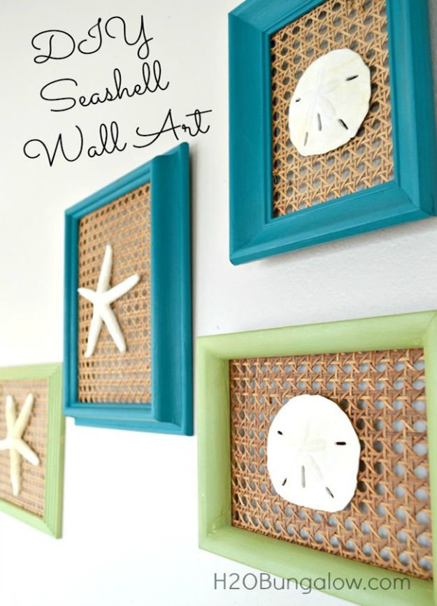 DIY Beach House Decor - DIY Seashell Wall Art - Cool DIY Decor Ideas While On A Budget - Cool Ideas for Decorating Your Beach Home With Shells, Sand and Summer Wall Art - Crafts and Do It Yourself Projects With A Breezy, Blue, Summery Feel - White Decor and Shiplap, Birchwood Boats, Beachy Sea Glass Art Projects for Living Room, Bedroom and Kitchen