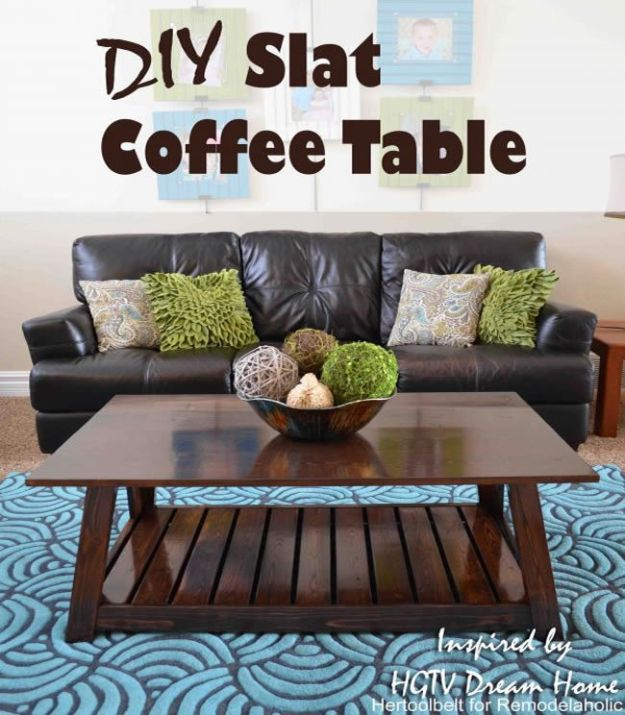 DIY Coffee Tables - DIY Slat Coffee Table - Easy Do It Yourself Furniture Ideas for The Living Room Table - Cool Projects for Making a Coffee Table With Crates, Boxes, Stone, Industrial Pipe, Tile, Pallets, Old Doors, Windows and Repurposed Wood Planks - Rustic Farmhouse Home Decor, Modern Decorating Ideas, Simply Shabby Chic and All White Looks for Minimalist Interiors http://diyjoy.com/diy-coffee-table-ideas