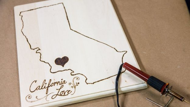 Cool State Crafts - DIY State Cutting Boards - Easy Craft Projects To Show Your Love For Your Home State - Best DIY Ideas Using Maps, String Art Shaped Like States, Quotes, Sayings and Wall Art Ideas, Painted Canvases, Cute Pillows, Fun Gifts and DIY Decor Made Simple - Creative Decorating Ideas for Living Room, Kitchen, Bedroom, Bath and Porch http://diyjoy.com/cool-state-crafts