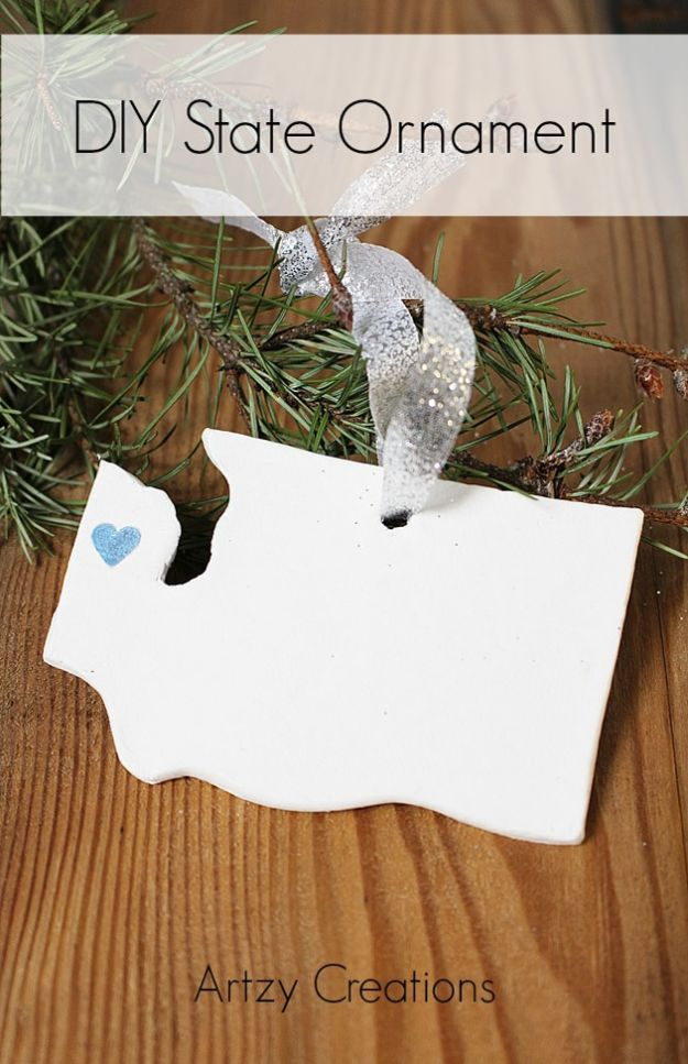 Cool State Crafts - DIY State Ornament - Easy Craft Projects To Show Your Love For Your Home State - Best DIY Ideas Using Maps, String Art Shaped Like States, Quotes, Sayings and Wall Art Ideas, Painted Canvases, Cute Pillows, Fun Gifts and DIY Decor Made Simple - Creative Decorating Ideas for Living Room, Kitchen, Bedroom, Bath and Porch http://diyjoy.com/cool-state-crafts