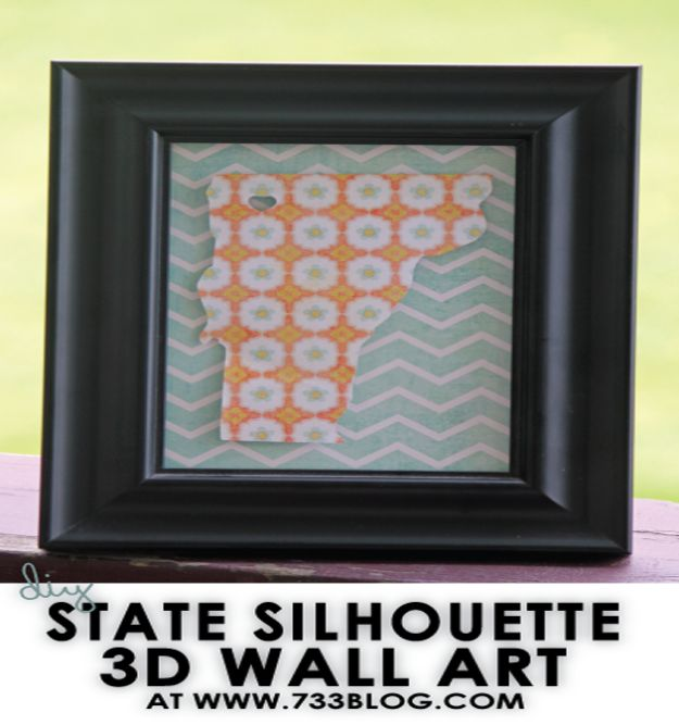 Cool State Crafts - DIY State Silhouette 3D - Easy Craft Projects To Show Your Love For Your Home State - Best DIY Ideas Using Maps, String Art Shaped Like States, Quotes, Sayings and Wall Art Ideas, Painted Canvases, Cute Pillows, Fun Gifts and DIY Decor Made Simple - Creative Decorating Ideas for Living Room, Kitchen, Bedroom, Bath and Porch http://diyjoy.com/cool-state-crafts