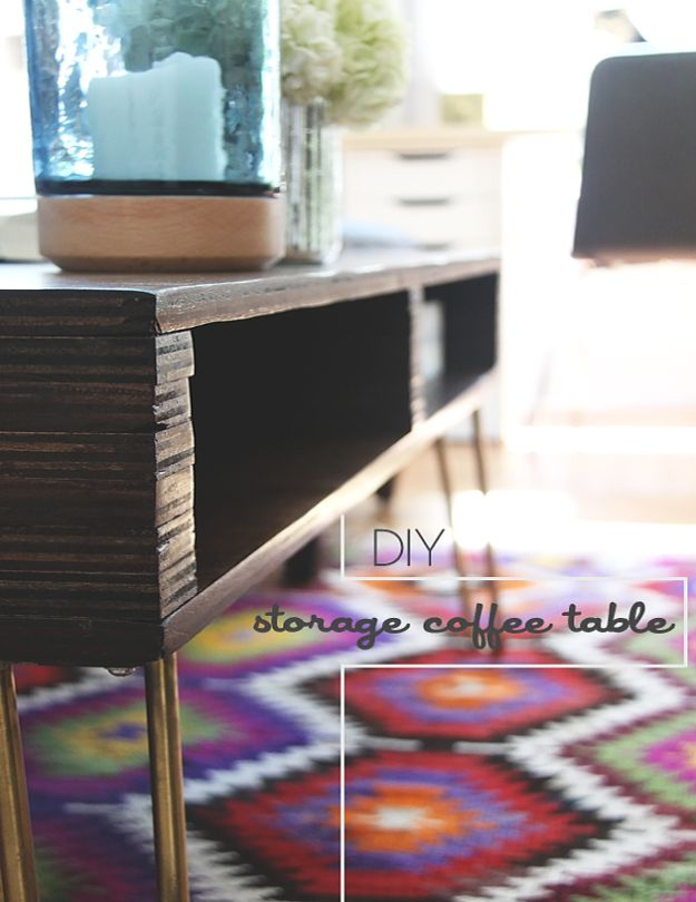 DIY Coffee Tables - DIY Storage Coffee Table - Easy Do It Yourself Furniture Ideas for The Living Room Table - Cool Projects for Making a Coffee Table With Crates, Boxes, Stone, Industrial Pipe, Tile, Pallets, Old Doors, Windows and Repurposed Wood Planks - Rustic Farmhouse Home Decor, Modern Decorating Ideas, Simply Shabby Chic and All White Looks for Minimalist Interiors http://diyjoy.com/diy-coffee-table-ideas