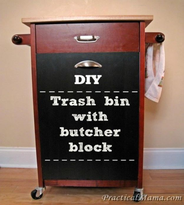 DIY Trash Cans - DIY Trash Bin With Butcher Block - Easy Do It Yourself Projects to Make Cute, Decorative Trash Cans for Bathroom, Kitchen and Bedroom - Trash Can Makeover, Hidden Kitchen Storage With Pull Out Cabinet - Lids, Liners and Painted Decor Ideas for Updating the Bin #diykitchen #diybath #trashcans #diy #diyideas #diyjoy http://diyjoy.com/diy-trash-cans