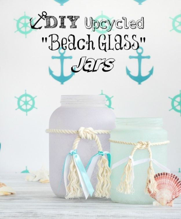 DIY Beach House Decor - DIY Upcycled Frosted Sea Glass Beachy Jars - Cool DIY Decor Ideas While On A Budget - Cool Ideas for Decorating Your Beach Home With Shells, Sand and Summer Wall Art - Crafts and Do It Yourself Projects With A Breezy, Blue, Summery Feel - White Decor and Shiplap, Birchwood Boats, Beachy Sea Glass Art Projects for Living Room, Bedroom and Kitchen http://diyjoy.com/diy-beach-house-decor