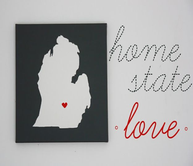 Cool State Crafts - DIY Wall Art Home State Love - Easy Craft Projects To Show Your Love For Your Home State - Best DIY Ideas Using Maps, String Art Shaped Like States, Quotes, Sayings and Wall Art Ideas, Painted Canvases, Cute Pillows, Fun Gifts and DIY Decor Made Simple - Creative Decorating Ideas for Living Room, Kitchen, Bedroom, Bath and Porch http://diyjoy.com/cool-state-crafts